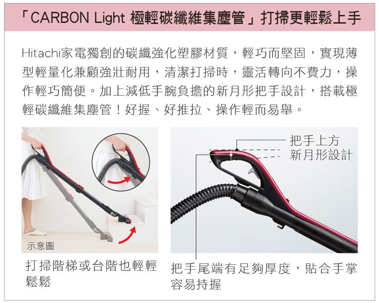 "CARBON Light極輕碳纖維集塵管設計,打掃更輕鬆上手"" border="