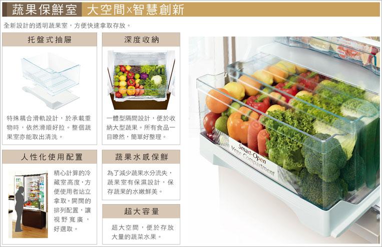 高保濕蔬果室,食物更鮮甜,水份不流失。